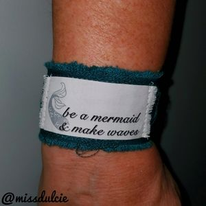 Mermaid Bracelet Deep Sea Turquoise Fabric Frayed